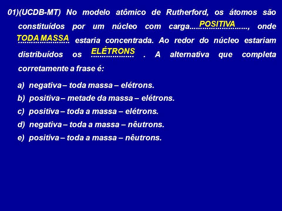 01)(UCDB-MT) No modelo atômico de Rutherford, os átomos são constituídos por um núcleo com carga..........................., onde........................