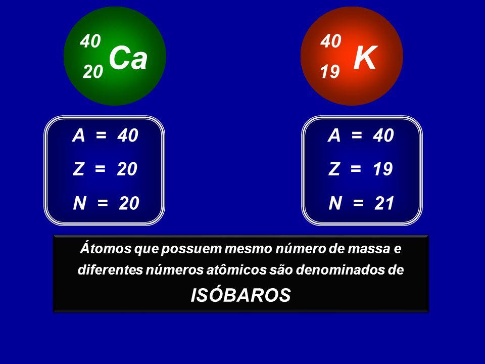 Ca 40 20 K 40 19 Z = 20 A = 40 N = 20 Z = 19 A = 40 N = 21 Estes átomos possuem o mesmo número de massa e diferentes números atômicos Átomos que possuem mesmo número de massa e diferentes números atômicos são denominados de ISÓBAROS Átomos que possuem mesmo número de massa e diferentes números atômicos são denominados de ISÓBAROS