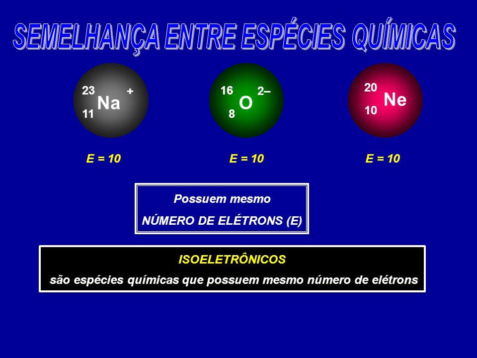 Na 11 23 + O 8 16 2– Ne 10 20 E = 10 Possuem mesmo NÚMERO DE ELÉTRONS (E) ISOELETRÔNICOS são espécies químicas que possuem mesmo número de elétrons ISOELETRÔNICOS são espécies químicas que possuem mesmo número de elétrons