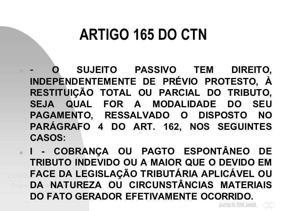Jump to first page 23/10/2002 Regra-matriz de incidência tributária 10 ARTIGO 165 DO CTN n - O SUJEITO PASSIVO TEM DIREITO, INDEPENDENTEMENTE DE PRÉVI
