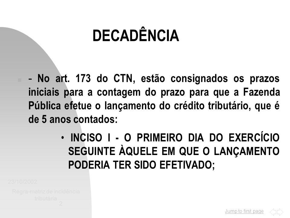 Jump to first page 23/10/2002 Regra-matriz de incidência tributária 3 DECADÊNCIA n - 5 ANOS CONTADOS: - INCISO II - DA DATA EM QUE SE TORNAR DEFINITIVA A DECISÃO QUE HOUVER ANULADO, POR VÍCIO FORMAL, O LANÇAMENTO ANTERIORMENTE EFETUADO; n - É UMA FORMA DE INTERUPÇÃO DO PRAZO DECADENCIAL