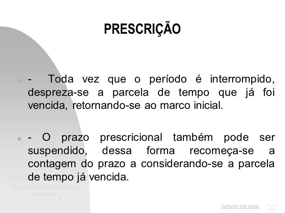 Jump to first page 23/10/2002 Regra-matriz de incidência tributária 7 PRESCRIÇÃO n - Art.