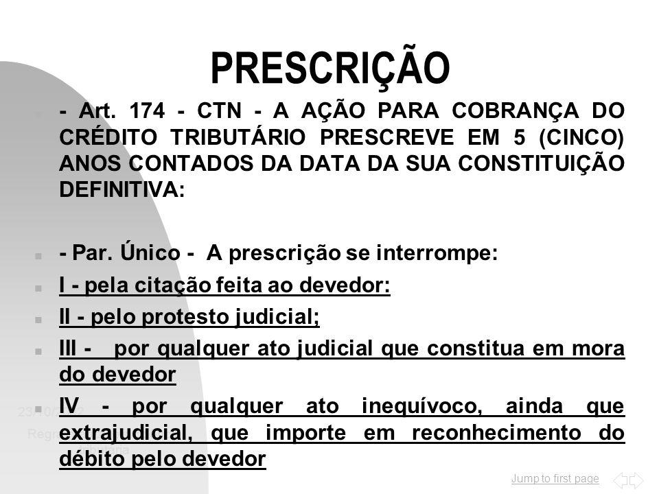 Jump to first page 23/10/2002 Regra-matriz de incidência tributária 8 RESTITUIÇÃO - CONTRIBUINTE n - Artigo 168 do CTN n - O DIREITO DE PLEITEAR A RESTITUIÇÃO EXTINGUE-SE COM O DECURSO DO PRAZO DE 5 (CINCO) ANOS, CONTADOS: n I - NAS HIPÓTESES DOS INCS.