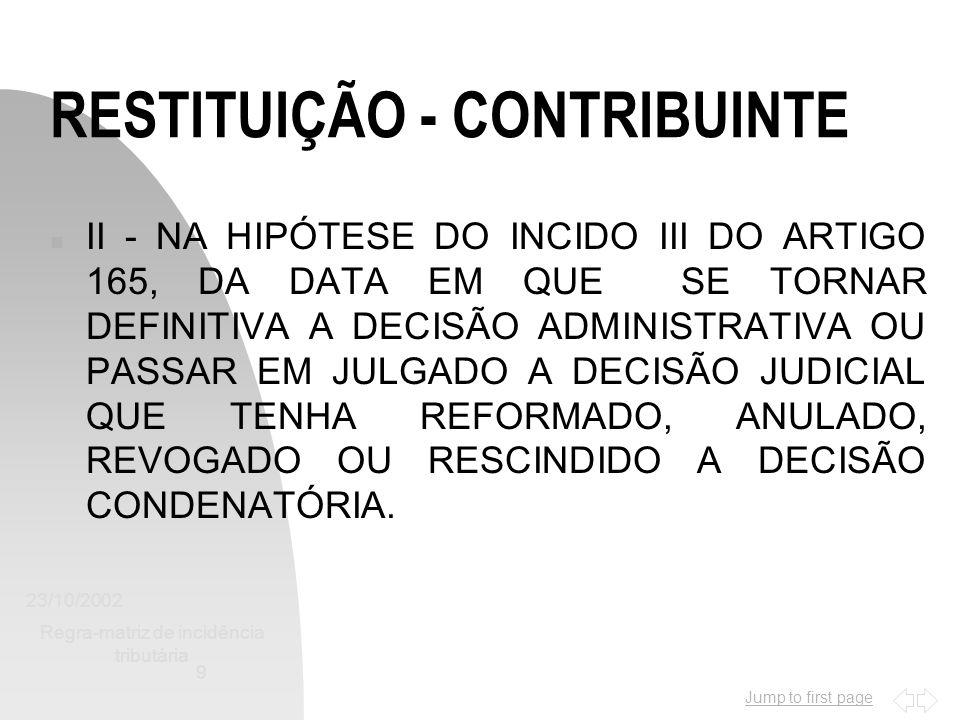 Jump to first page 23/10/2002 Regra-matriz de incidência tributária 9 RESTITUIÇÃO - CONTRIBUINTE n II - NA HIPÓTESE DO INCIDO III DO ARTIGO 165, DA DA