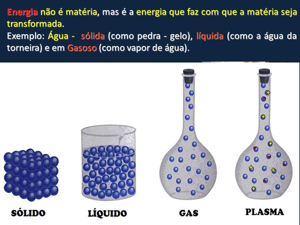 Energia não é matéria, mas é a energia que faz com que a matéria seja transformada.