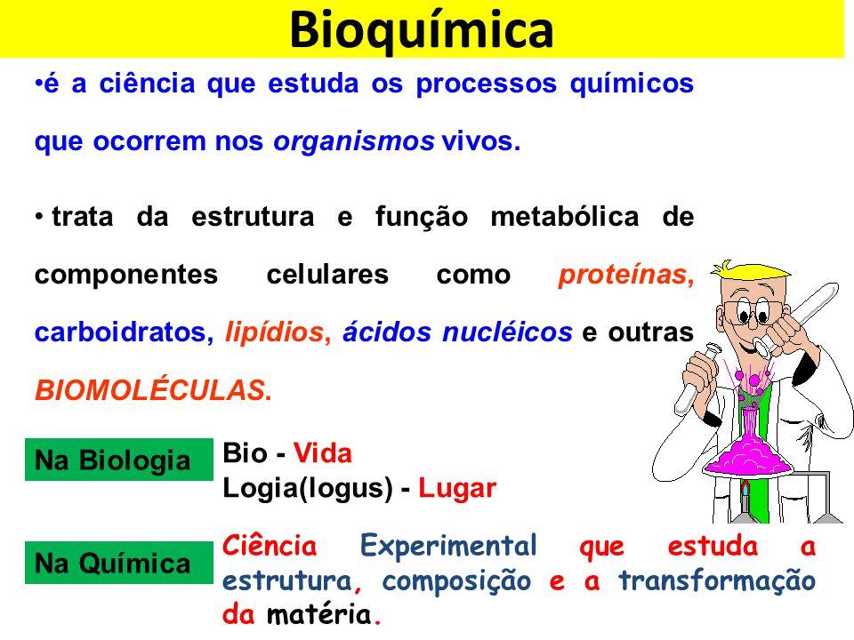 Bioquímica Na Biologia Bio - Vida Logia(logus) - Lugar Na Química Ciência Experimental que estuda a estrutura, composição e a transformação da matéria.