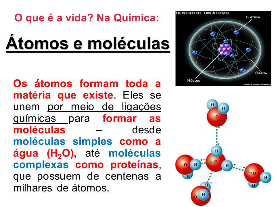 O que é a vida.Na Química: Átomos e moléculas Os átomos formam toda a matéria que existe.