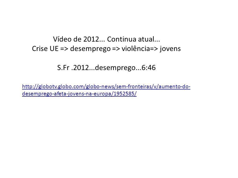 http://globotv.globo.com/globo-news/sem-fronteiras/v/aumento-do- desemprego-afeta-jovens-na-europa/1952585/ Vídeo de 2012... Continua atual... Crise U