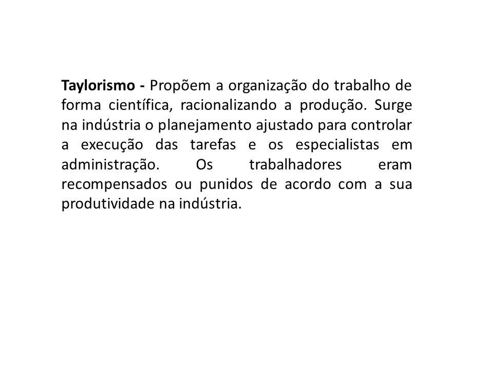 Taylorismo - Propõem a organização do trabalho de forma científica, racionalizando a produção. Surge na indústria o planejamento ajustado para control