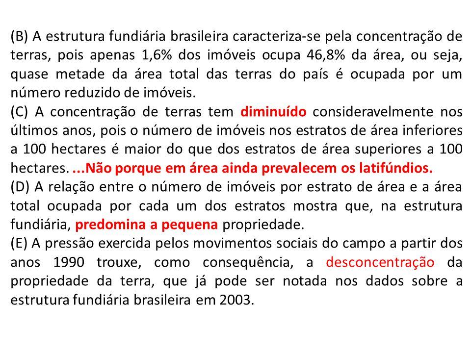 (B) A estrutura fundiária brasileira caracteriza-se pela concentração de terras, pois apenas 1,6% dos imóveis ocupa 46,8% da área, ou seja, quase metade da área total das terras do país é ocupada por um número reduzido de imóveis.