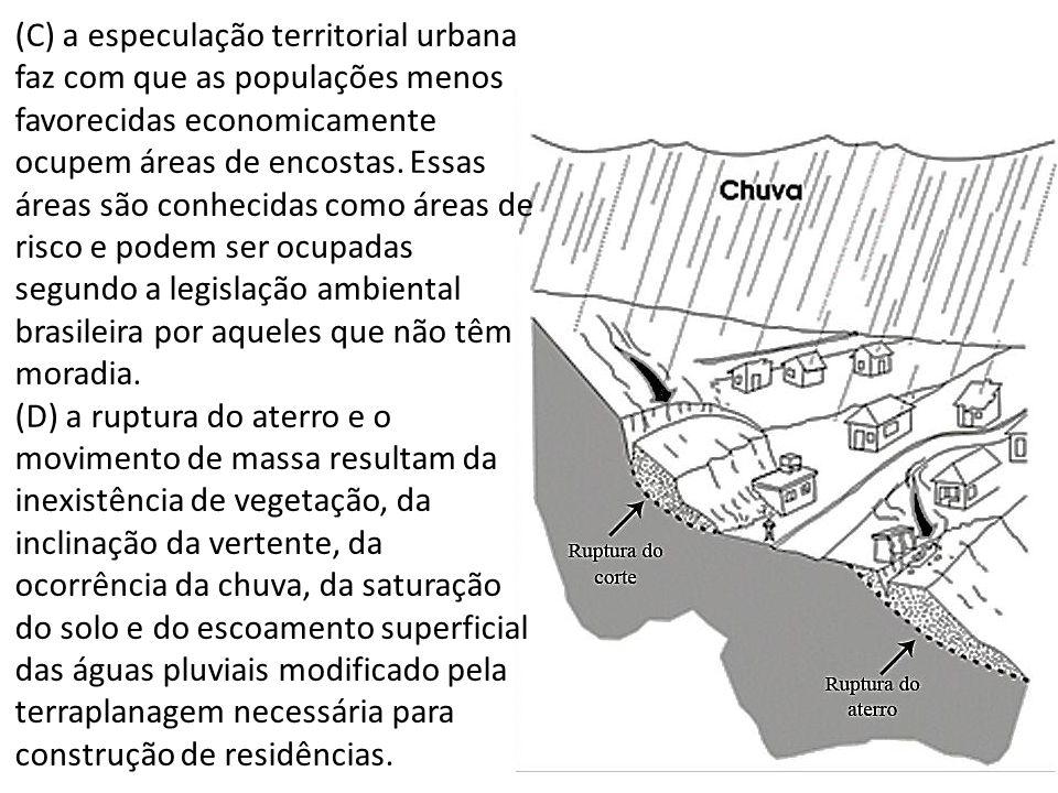 (C) a especulação territorial urbana faz com que as populações menos favorecidas economicamente ocupem áreas de encostas.