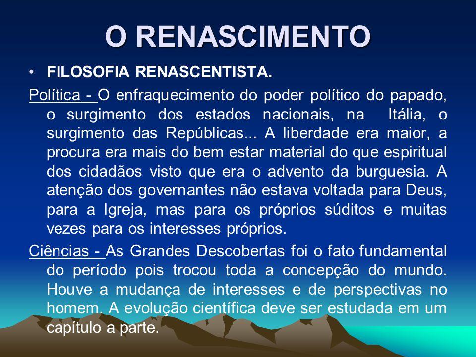 O RENASCIMENTO FILOSOFIA RENASCENTISTA. Política - O enfraquecimento do poder político do papado, o surgimento dos estados nacionais, na Itália, o sur