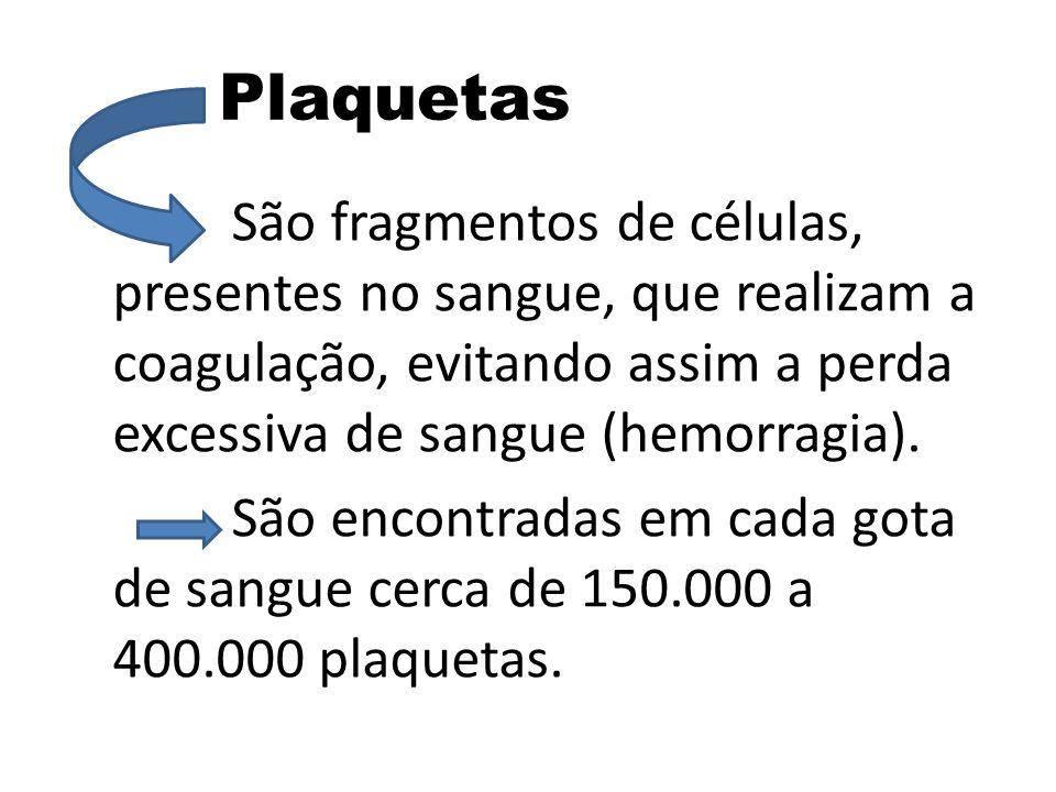 Plaquetas São fragmentos de células, presentes no sangue, que realizam a coagulação, evitando assim a perda excessiva de sangue (hemorragia). São enco