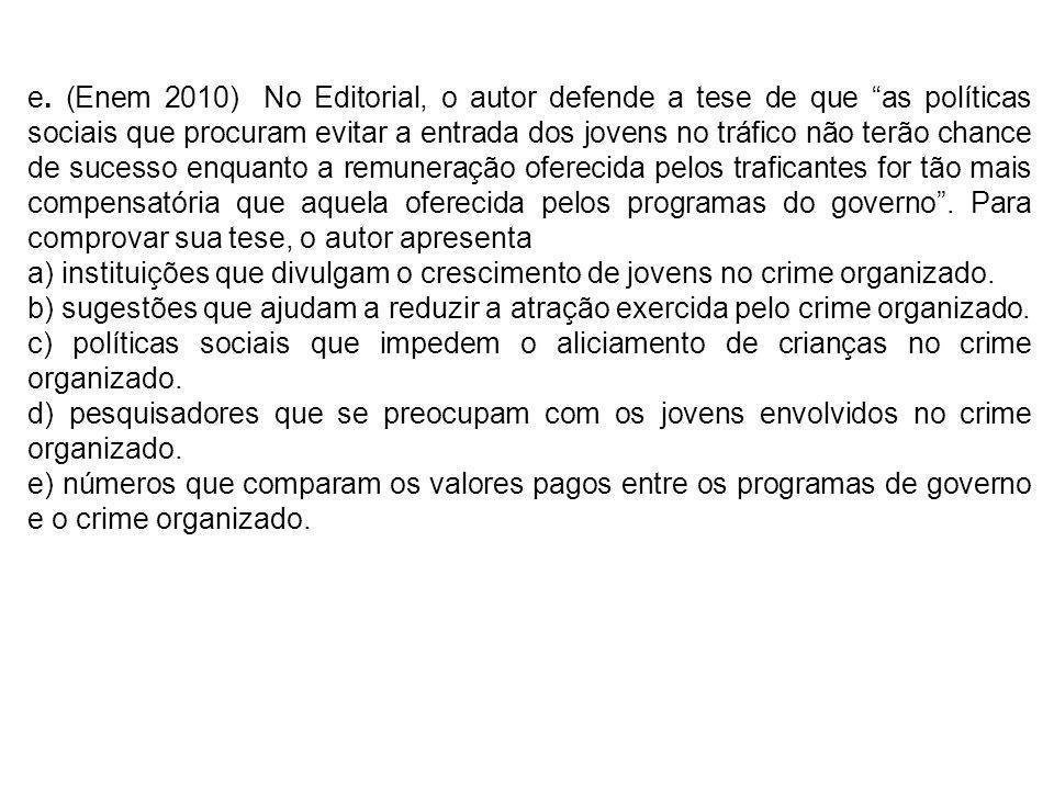 e. (Enem 2010) No Editorial, o autor defende a tese de que as políticas sociais que procuram evitar a entrada dos jovens no tráfico não terão chance d