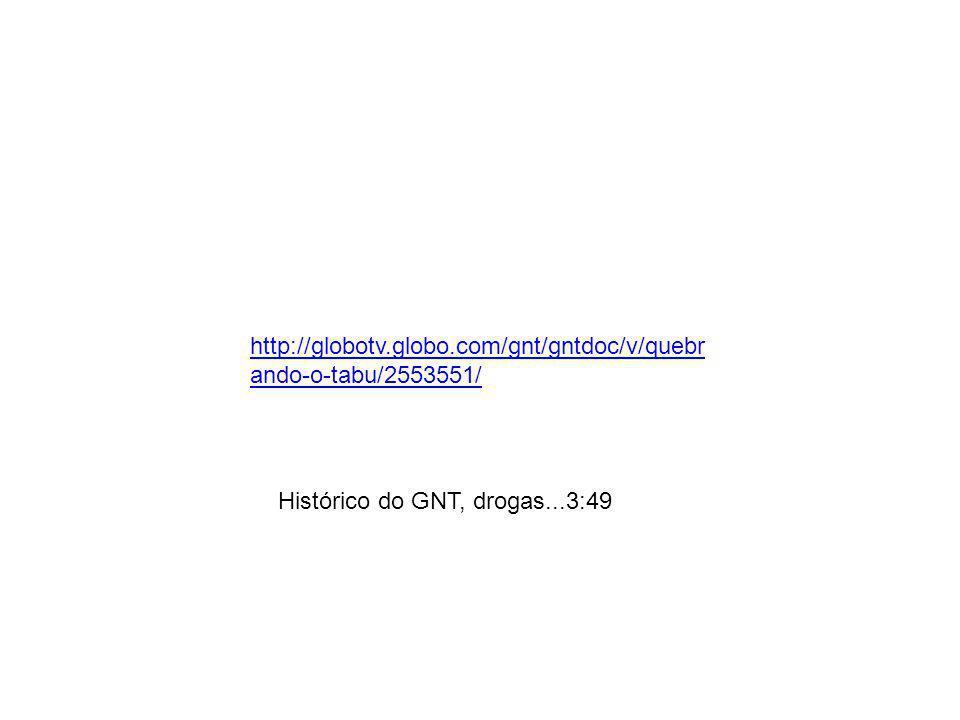 http://globotv.globo.com/gnt/gntdoc/v/quebr ando-o-tabu/2553551/ Histórico do GNT, drogas...3:49