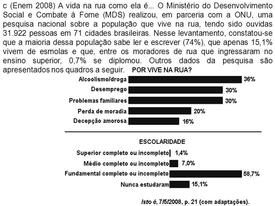 c (Enem 2008) A vida na rua como ela é... O Ministério do Desenvolvimento Social e Combate à Fome (MDS) realizou, em parceria com a ONU, uma pesquisa
