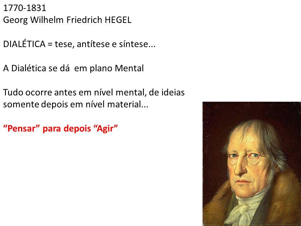 1770-1831 Georg Wilhelm Friedrich HEGEL DIALÉTICA = tese, antítese e síntese... A Dialética se dá em plano Mental Tudo ocorre antes em nível mental, d