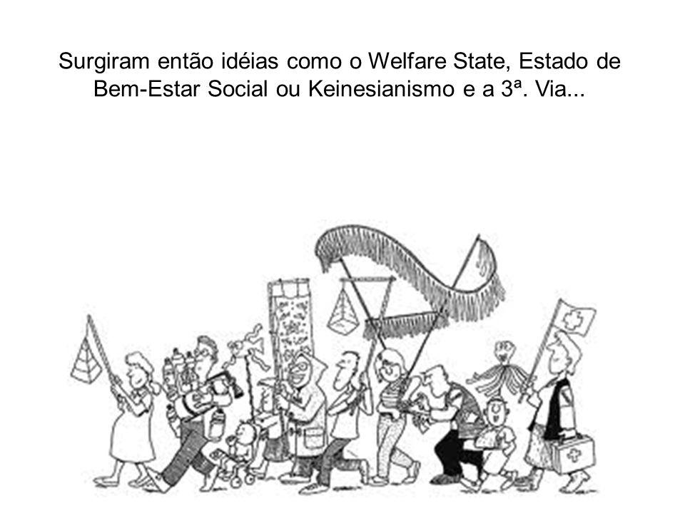 Surgiram então idéias como o Welfare State, Estado de Bem-Estar Social ou Keinesianismo e a 3ª. Via...