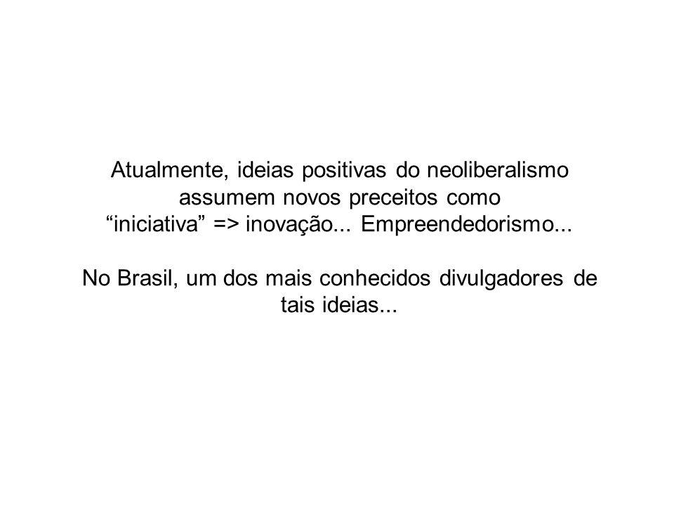 Atualmente, ideias positivas do neoliberalismo assumem novos preceitos como iniciativa => inovação... Empreendedorismo... No Brasil, um dos mais conhe
