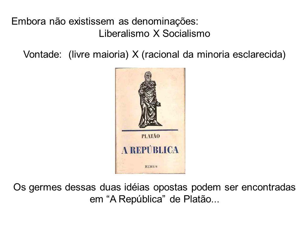 Embora não existissem as denominações: Liberalismo X Socialismo Vontade: (livre maioria) X (racional da minoria esclarecida) Os germes dessas duas idé