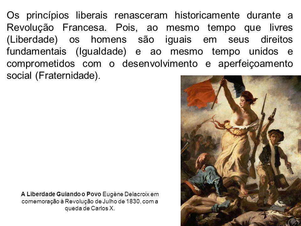 Os princípios liberais renasceram historicamente durante a Revolução Francesa. Pois, ao mesmo tempo que livres (Liberdade) os homens são iguais em seu