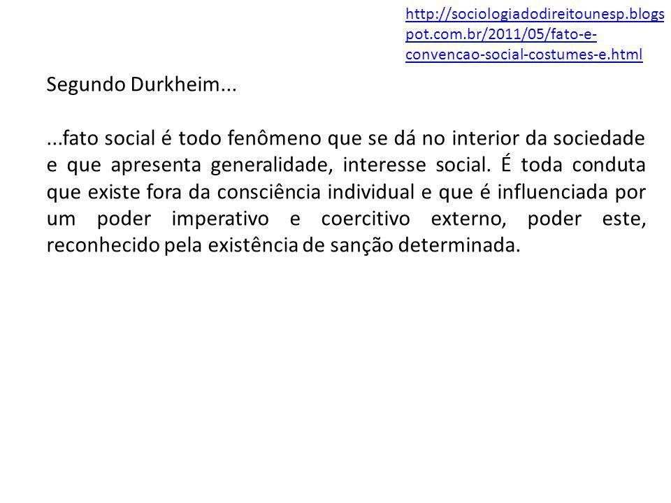 Segundo Durkheim......fato social é todo fenômeno que se dá no interior da sociedade e que apresenta generalidade, interesse social. É toda conduta qu