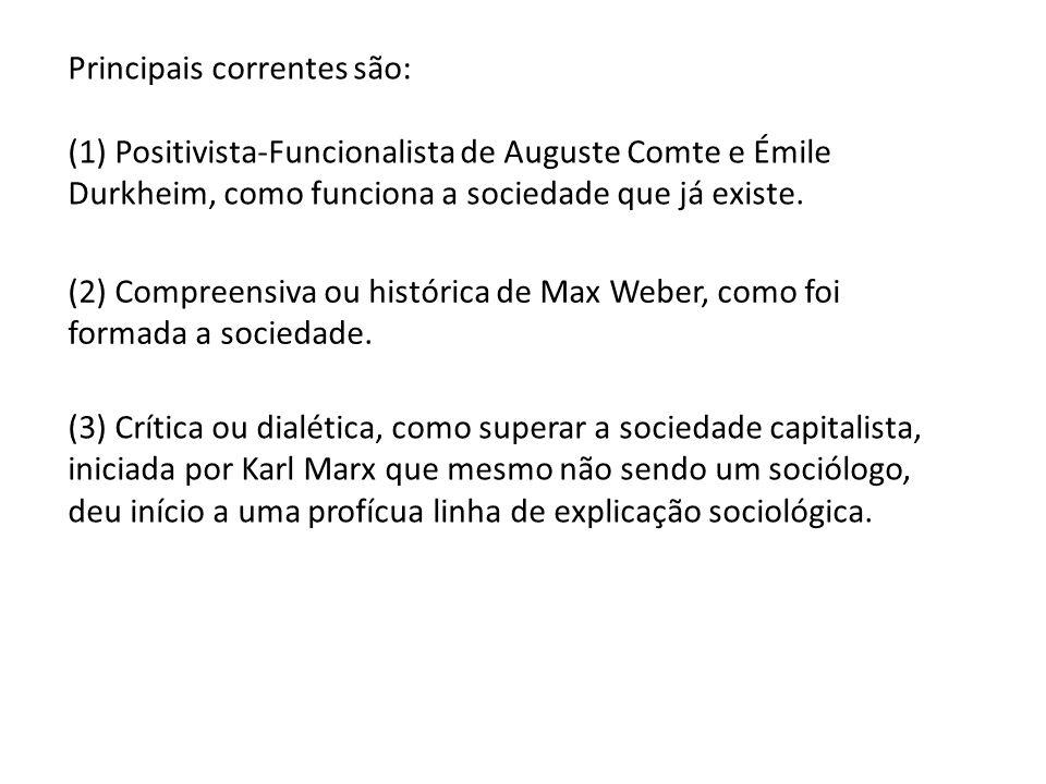 Principais correntes são: (1) Positivista-Funcionalista de Auguste Comte e Émile Durkheim, como funciona a sociedade que já existe. (2) Compreensiva o
