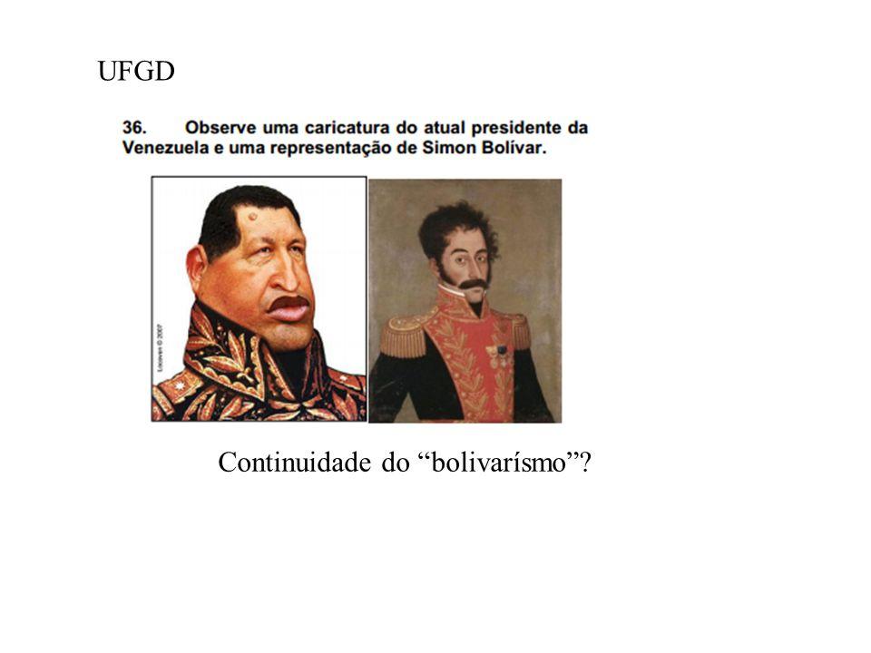 b) Cite dois motivos pelos quais o governo de Chavez é visto como amea ç a aos interesses norte-americanos. R: - mudan ç as realizadas na pol í tica p