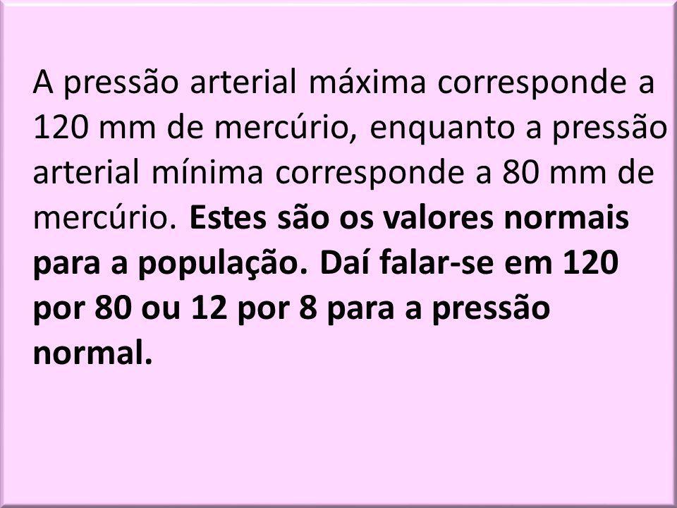 A pressão arterial máxima corresponde a 120 mm de mercúrio, enquanto a pressão arterial mínima corresponde a 80 mm de mercúrio. Estes são os valores n