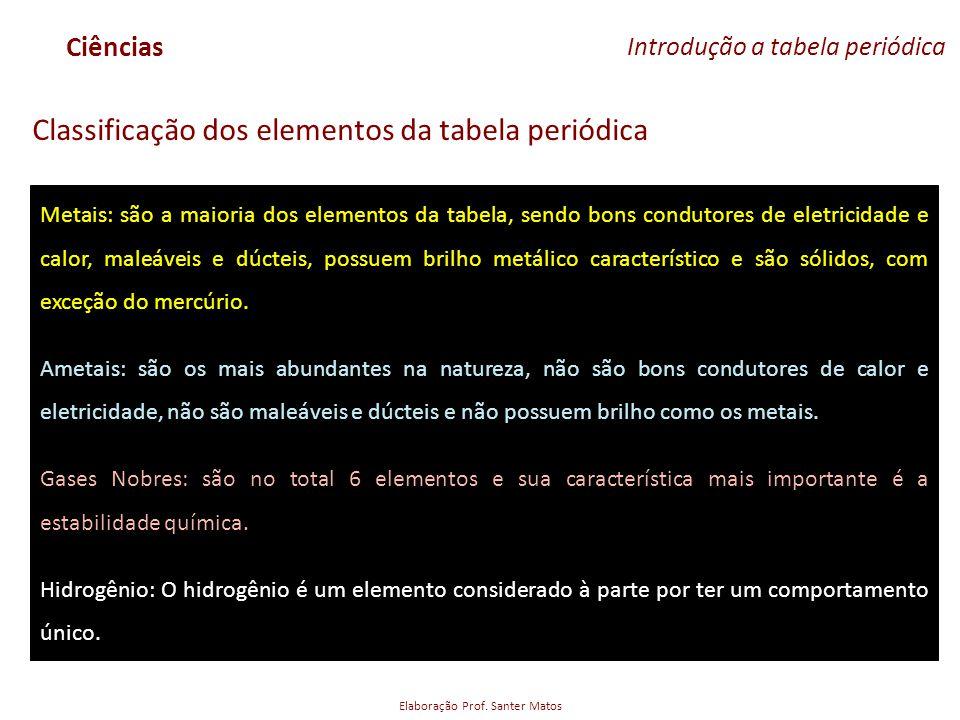 Elaboração Prof. Santer Matos Ciências Introdução a tabela periódica Classificação dos elementos da tabela periódica Metais: são a maioria dos element