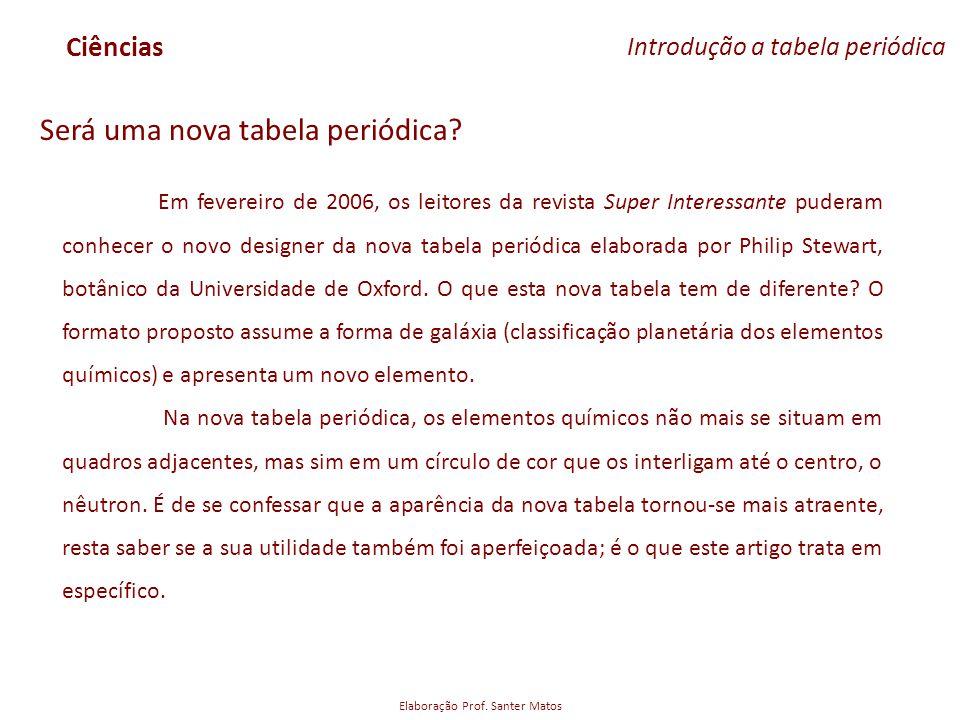 Elaboração Prof. Santer Matos Ciências Introdução a tabela periódica Será uma nova tabela periódica? Em fevereiro de 2006, os leitores da revista Supe
