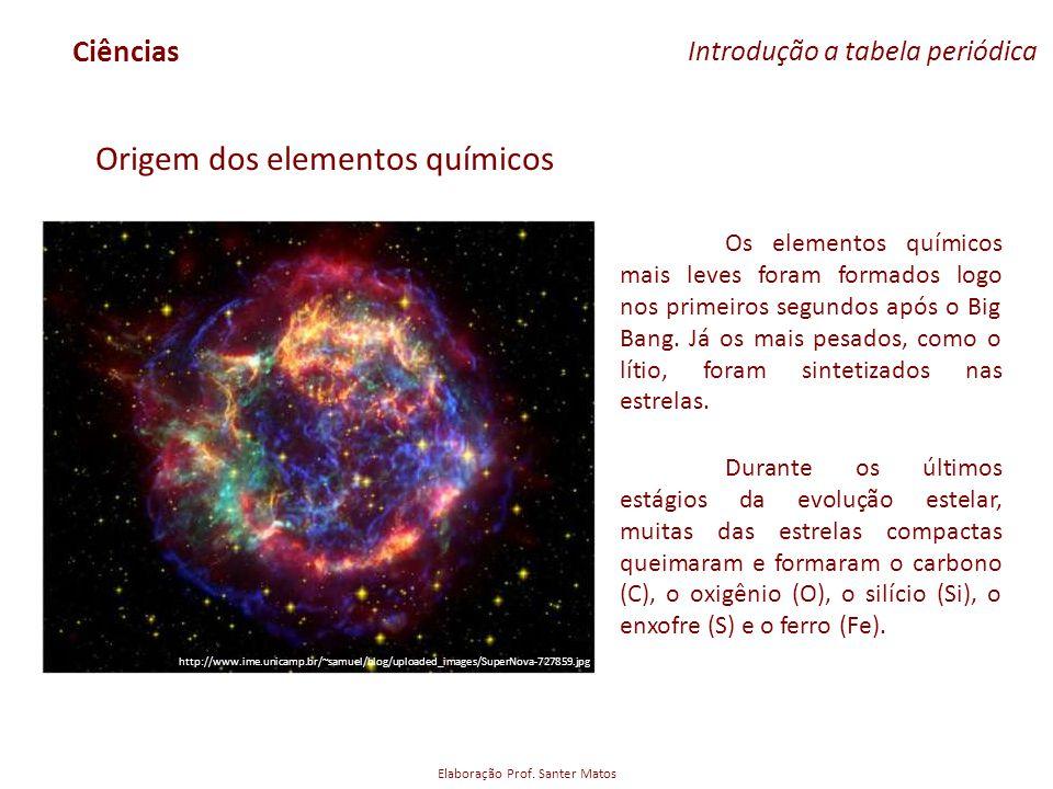 Elaboração Prof. Santer Matos Ciências Introdução a tabela periódica Origem dos elementos químicos Os elementos químicos mais leves foram formados log
