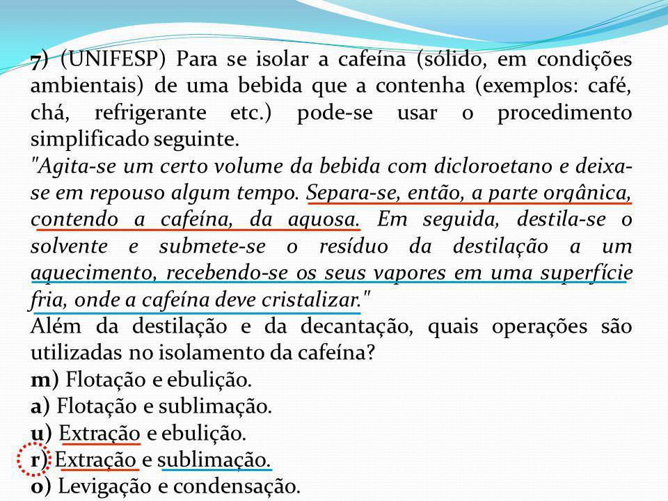 7) (UNIFESP) Para se isolar a cafeína (sólido, em condições ambientais) de uma bebida que a contenha (exemplos: café, chá, refrigerante etc.) pode-se