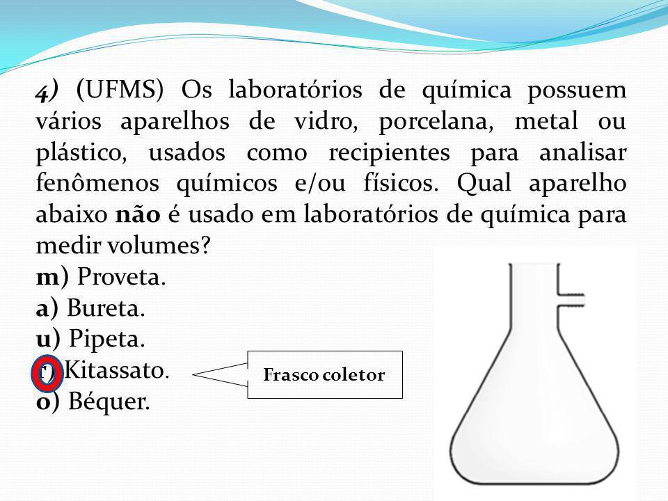 4) (UFMS) Os laboratórios de química possuem vários aparelhos de vidro, porcelana, metal ou plástico, usados como recipientes para analisar fenômenos