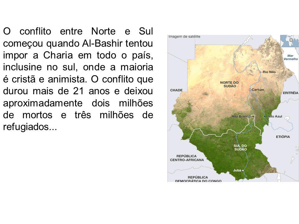 O conflito entre Norte e Sul começou quando Al-Bashir tentou impor a Charia em todo o país, inclusine no sul, onde a maioria é cristã e animista. O co