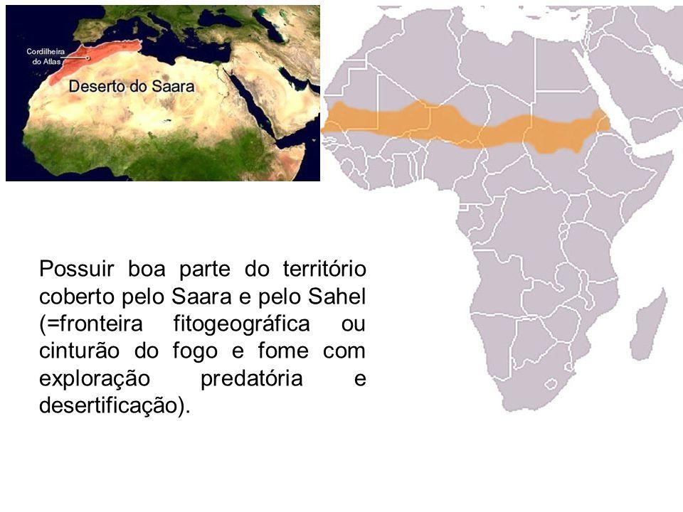 Possuir boa parte do território coberto pelo Saara e pelo Sahel (=fronteira fitogeográfica ou cinturão do fogo e fome com exploração predatória e dese