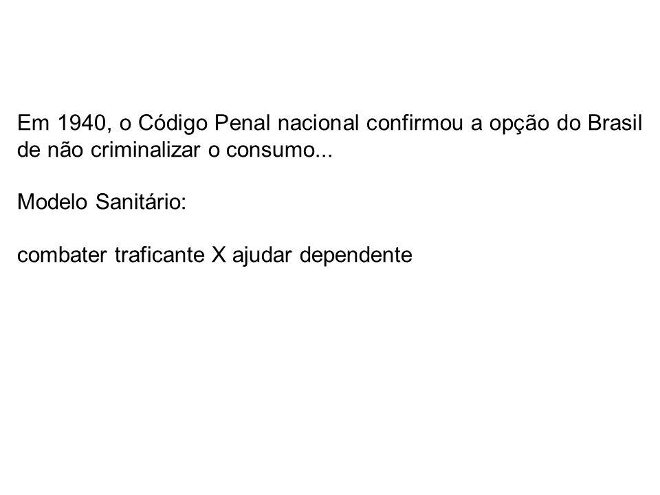 Em 1940, o Código Penal nacional confirmou a opção do Brasil de não criminalizar o consumo...