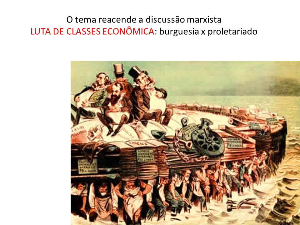 O tema reacende a discussão marxista LUTA DE CLASSES ECONÔMICA: burguesia x proletariado