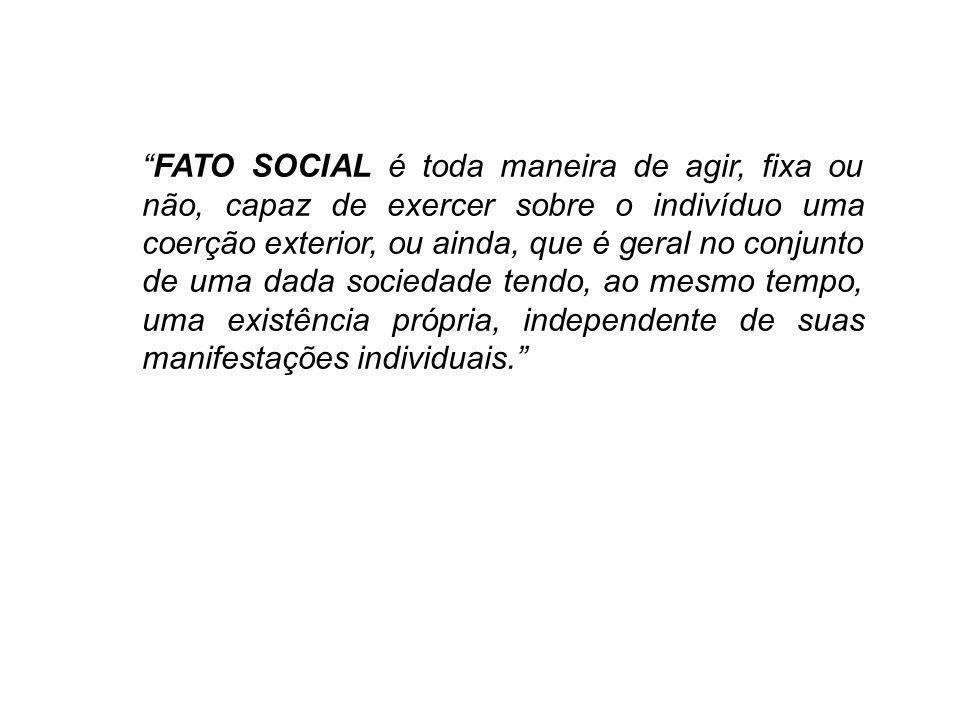 FATO SOCIAL é toda maneira de agir, fixa ou não, capaz de exercer sobre o indivíduo uma coerção exterior, ou ainda, que é geral no conjunto de uma dad