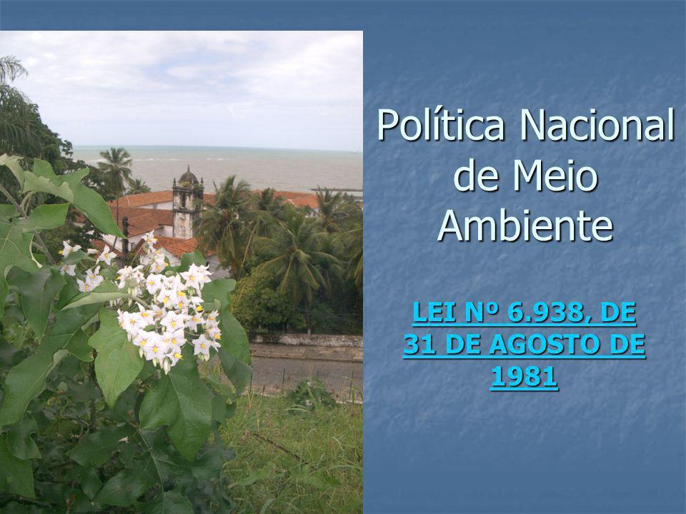 Política Nacional de Meio Ambiente LEI Nº 6.938, DE 31 DE AGOSTO DE 1981 LEI Nº 6.938, DE 31 DE AGOSTO DE 1981