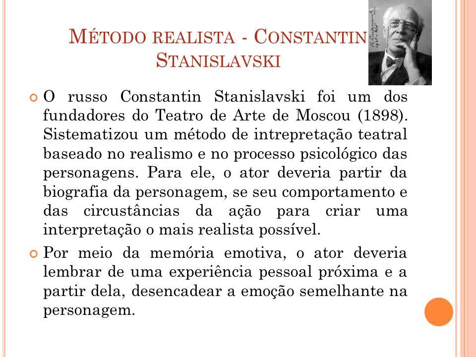 M ÉTODO REALISTA - C ONSTANTIN S TANISLAVSKI O russo Constantin Stanislavski foi um dos fundadores do Teatro de Arte de Moscou (1898).