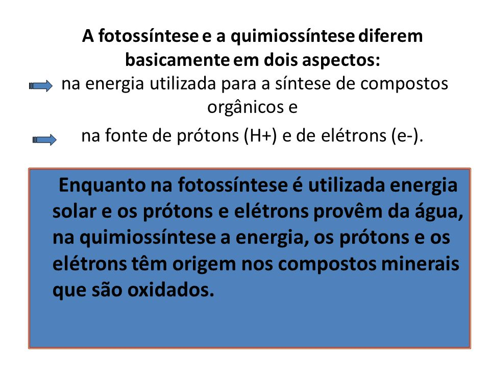A fotossíntese e a quimiossíntese diferem basicamente em dois aspectos: na energia utilizada para a síntese de compostos orgânicos e na fonte de próto