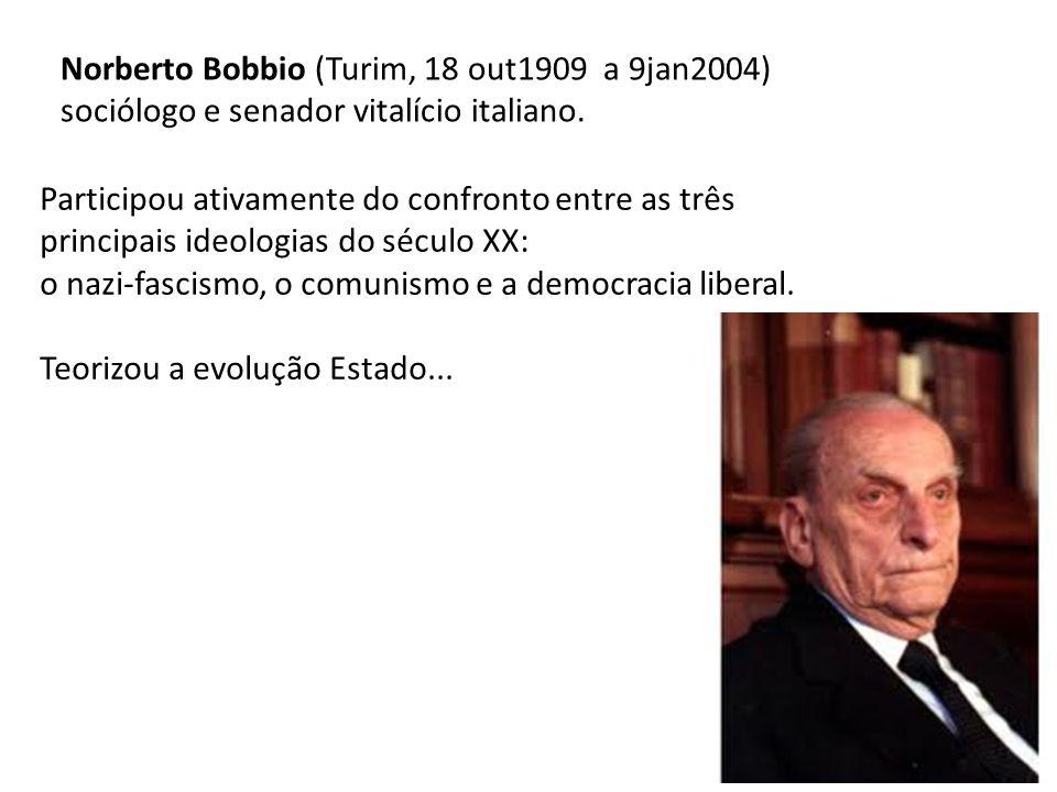 Norberto Bobbio (Turim, 18 out1909 a 9jan2004) sociólogo e senador vitalício italiano. Participou ativamente do confronto entre as três principais ide