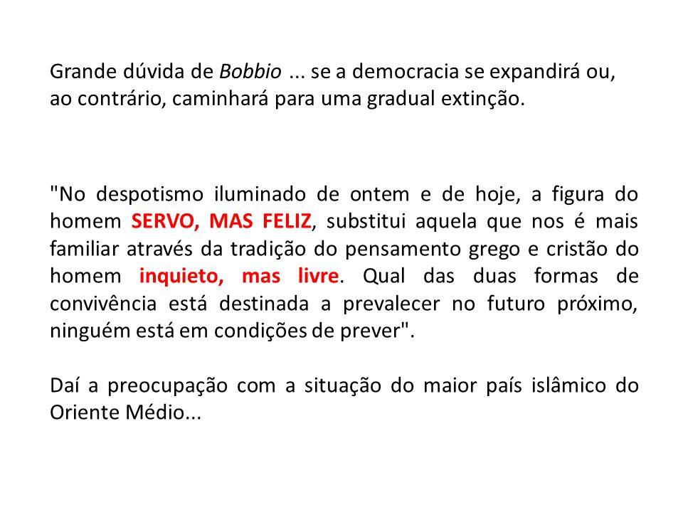 Grande dúvida de Bobbio... se a democracia se expandirá ou, ao contrário, caminhará para uma gradual extinção.