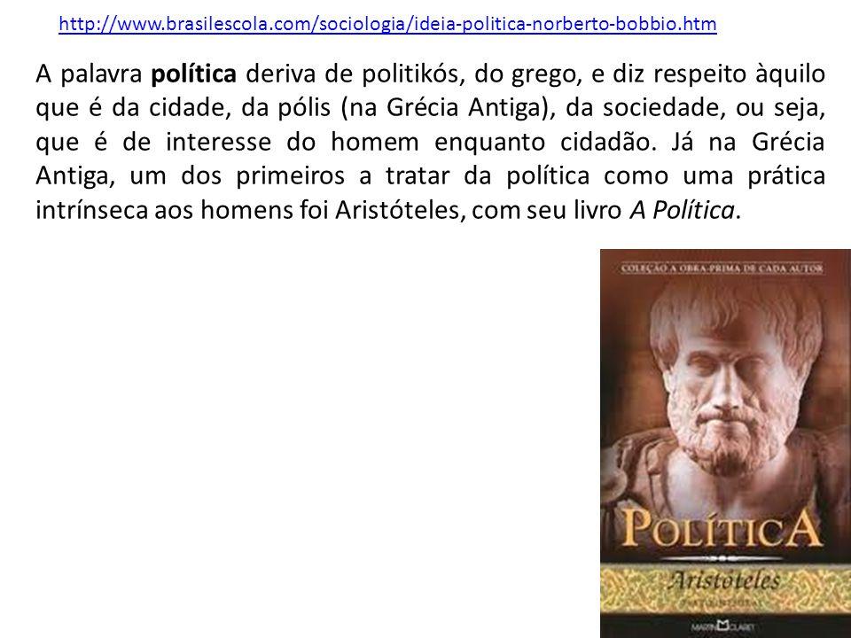 http://www.brasilescola.com/sociologia/ideia-politica-norberto-bobbio.htm A palavra política deriva de politikós, do grego, e diz respeito àquilo que