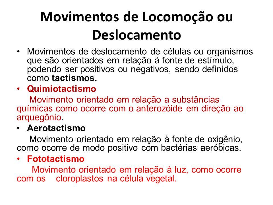 Movimentos de Locomoção ou Deslocamento Movimentos de deslocamento de células ou organismos que são orientados em relação à fonte de estímulo, podendo