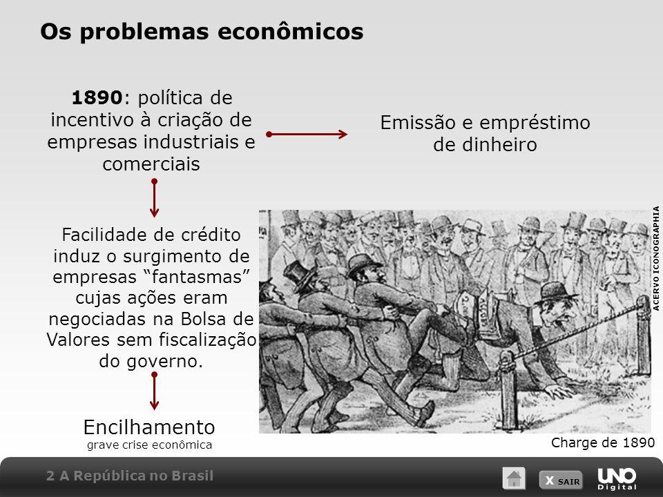 X SAIR Os problemas econômicos 1890: política de incentivo à criação de empresas industriais e comerciais Emissão e empréstimo de dinheiro Facilidade