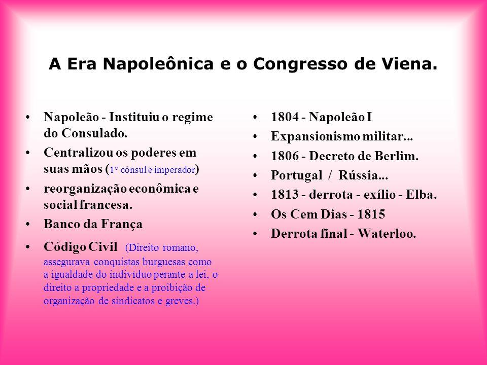 A Era Napoleônica e o Congresso de Viena. 1804 - Napoleão I Expansionismo militar... 1806 - Decreto de Berlim. Portugal / Rússia... 1813 - derrota - e