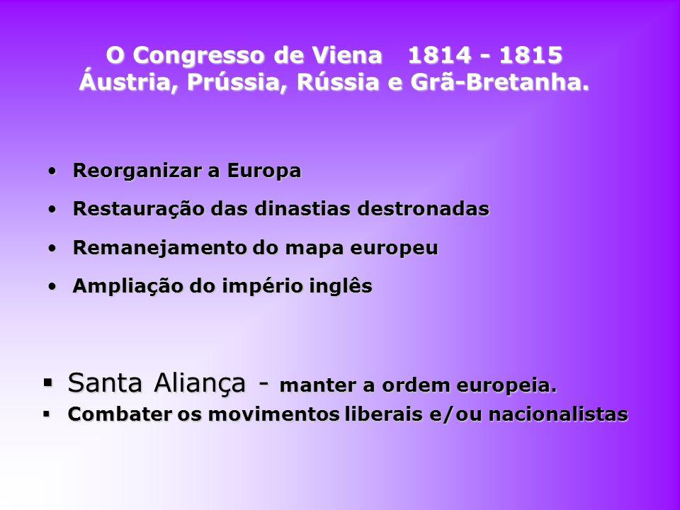 O Congresso de Viena 1814 - 1815 Áustria, Prússia, Rússia e Grã-Bretanha. Reorganizar a EuropaReorganizar a Europa Restauração das dinastias destronad
