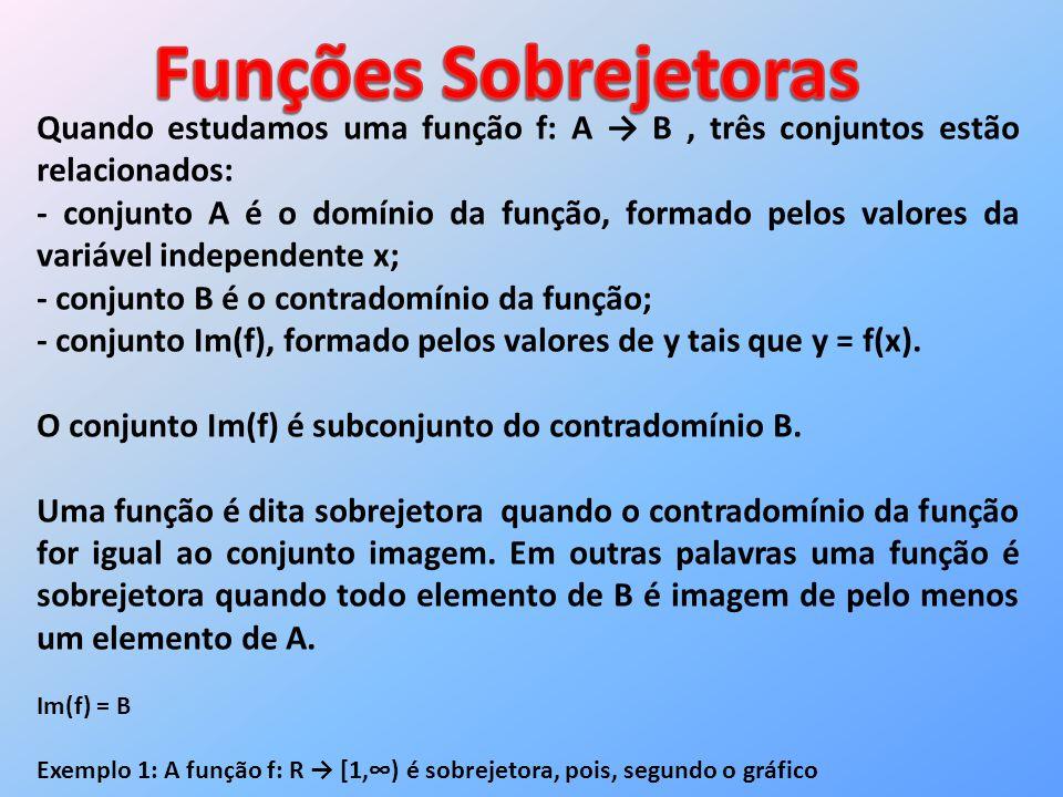 Quando estudamos uma função f: A B, três conjuntos estão relacionados: - conjunto A é o domínio da função, formado pelos valores da variável independe